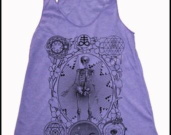 Women's ALCHEMIST Tank Top Floral Leaves Magic Mystic Skeleton Sacred Geometry Shirt