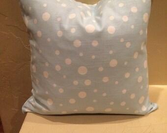Blue polka dot pillow cover. Light blue pillow cover. Accent pillow . Throw pillow . Decorative pillow cover. Cushion cover. Sham.