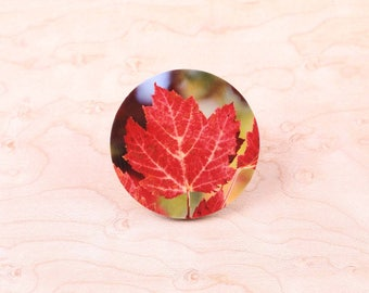 Red Orange Maple Leaf Magnet Pin Brooch