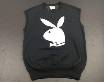 Vintage 80's playboy bunny logo short sleeve sweatshirt mens S fits XS t-shirt crewneck magazine Hugh Heffner
