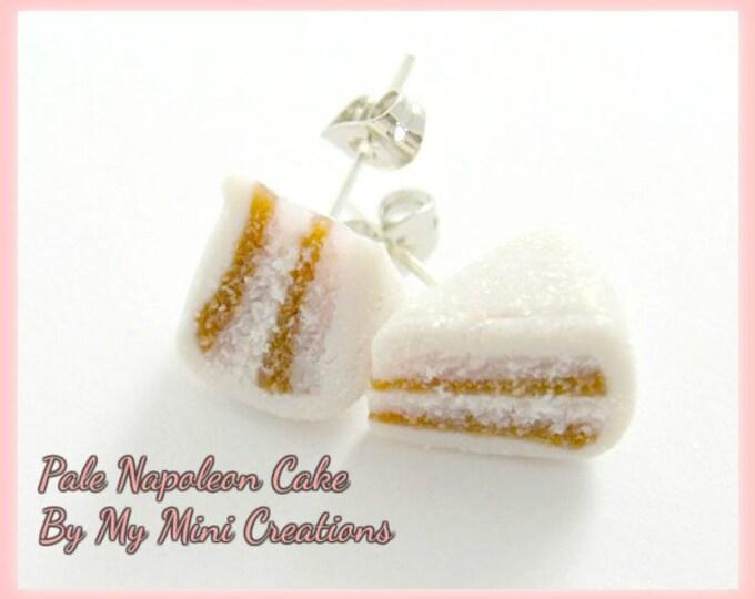 Pale Napoleon Cake,Stud Earrings, Polymer clay,  Miniature Food, Miniature Food Jewelry