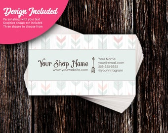 Business Cards - Custom Business Cards - Personalized Business Cards - Mommy Calling Cards - Tribal Feathers