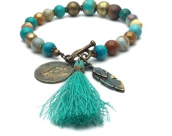 Turquoise bead bracelet, beaded charm bracelets, boho jewelry, festival jewelry, turquoise beads,