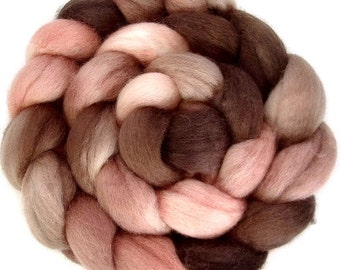 Handpainted BFL Wool Roving - 4 oz. ROSEWOOD - Spinning Fiber