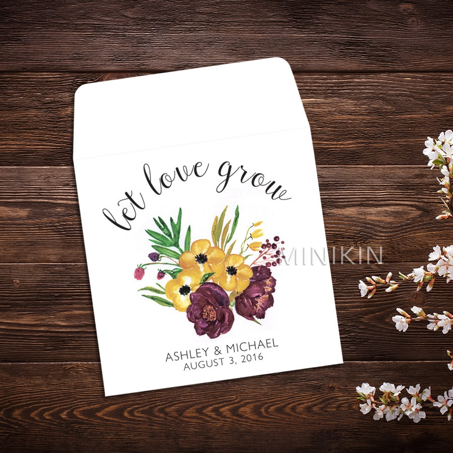 Seed Packet Favor Wedding Seed Packet Seed Favor Let Love