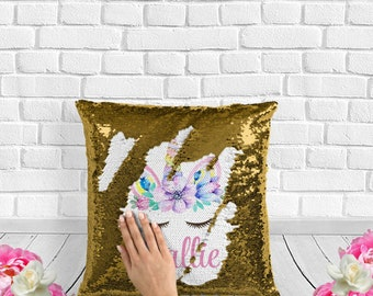 unicorn face unicorn gift unicorn lover gift girls unicorn gift kids unicorn gift unicorn pillow unicorn sequin pillow rose gold girls gift