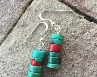 Turquoise and Coral Heishi Earrings on Sterling Silver