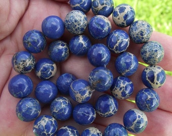 4 beads sediment Jasper blue multicolor round 10 MM.