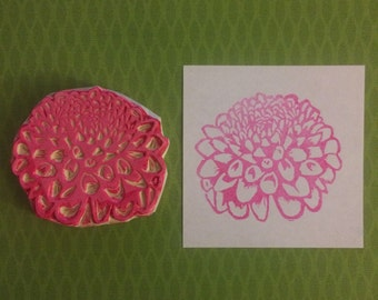 Dahlia Stamp - flower, rubber stamp, handmade