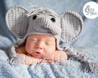 Elephant Hat for Newborns to Toddlers. MADE to ORDER. Custom Colors.