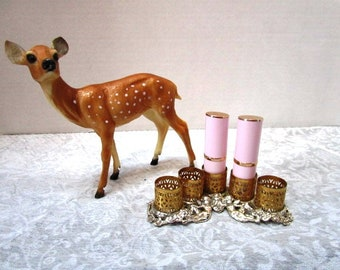 Vintage Lipstick Holder w/ Cherubs, Florentine w/ Metal Edge, Boudoir Dresser Organizer Sophisticated Staging Prop Display, Gold + Silver