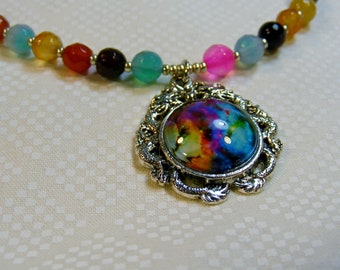 Go Into the Galaxy-multi-colored stone necklace with cabochon pendant, 22 1/4 inches or 56.5 cm
