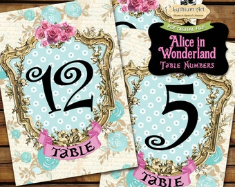 ALICE IN WONDERLAND Table Numbers - Printable Table Numbers 1 to 20 - 5x7 Table Numbers - Alice in Wonderland Decorations - Wonderland Party