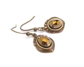 Art Deco Earrings Bronze Cabochon Antiqued Gold Tone Earrings Wedding Jewelry Hawaii Beads