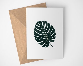 Monstera Card, Plant Lover Not Card, Cards for Gardeners, Simple note Cards, Cards for Penpals, Cards for Green Thumb