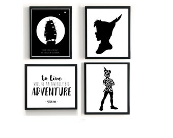 Peter Pan Print Set of 4, To Live Will Be An Awfully Big Adventure, Second Star To The Right, The Cleverness Of Me, Digital Nursery Art