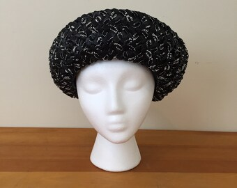 60s Original Play Topper Black and White Straw Short Brim Hat