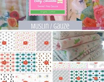 CUSTOM 1 layer Muslin Baby Swaddle / Organic Sweet Pea Gauze Newborn Swaddle / Headband - Summer Fun Mix | Sports Flowers Animals