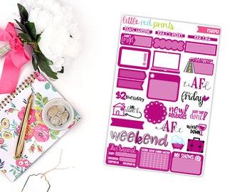 Dark Pink Functional Sampler Number 2, Planner Stickers for the Erin Condren Life Planner, Sampler Sheet - [FS0042]