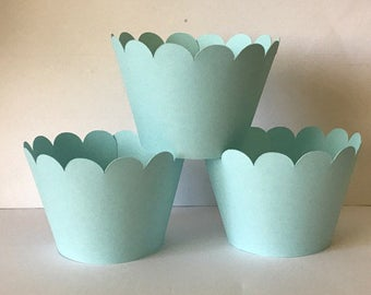 Solid Light Blue Pastel Cupcake Wrappers, Party decorations cupcake holders, party supplies cupcake wraps, cupcake sleeves, paper goods