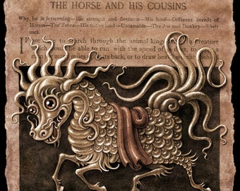 Year of the Horse sepia art print, Longma (Tincture): Chinese New Year painting, golden dragon horse, Asian myth wall art, muted color