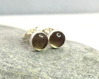 Smoky Quartz Stud Earrings 5mm .. Smoky Quartz earrings .. Silver Studs .. Gemstone Studs .. Handmade Jewelry