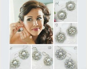Bridesmaids earrings, Silver post Earrings, Bridesmaids stud earrings, Bridesmaids Jewelry, Set of 3, set of 4, Bridesmaids Gifts