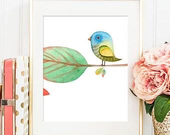 Bird On A Branch (Right) - 8x10 Sparrow Art, Sparrow Print, Bird Artwork, Bird Print, Printable Wall Art, Dorm Decor