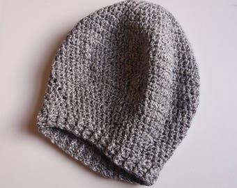 Grey Cotton Slouchy Crochet Hat