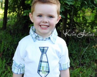 Boys Tie Shirt - Boys Necktie Shirt - Boys Birthday Shirt - Toddler Boys Shirt