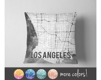 Watercolor Los Angeles map throw pillow