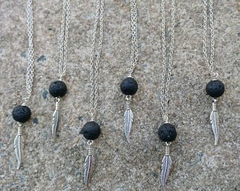 Essential oil diffuser necklace - lava stone necklace - feather charm necklace - Black lava bead necklace - simple jewelry - gift for her
