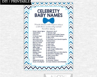 Instant Download Blue Navy Chevron Little Man Bow Tie Little Man Baby Shower Celebrity baby name Game DIY Printable ( SWCH201)