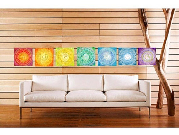 6x6 Canvas print set Chakra Mandalas by Lauren Tannehill Art