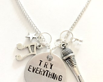 """Zootopia Shakira Inspired Hand-Stamped Necklace - """"Try Everything"""""""