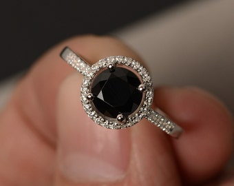 Rings Black Halo Ring Black Spinel Ring Promise Ring for Girl Round Cut Black Rings Engagement Ring Sterling Silver 925