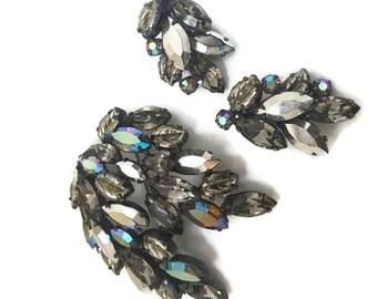 Regency Jewelry Set, Regency Brooch and Earrings, Gifts For Mom, Hollywood Regency, Crystal Jewelry, Wedding Jewlery