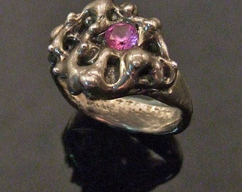 Sterling Silver Ring Band with Pink Tourmaline Gem Stone - Handmade Cast LUNAR RING - One of a Kind Artisan Jewelry, Small Size 5 3/4