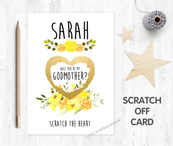 godmother scratch card, will you be my godmother, godmother proposal, scratch and reveal godmother card yellow flowers watercolour floral