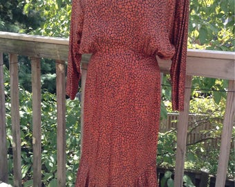 Nicole Miller Copper Mosaic Pattern 30s Style Dress