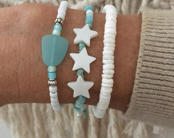 beach bracelets, sea glass jewelry, boho style, gift for her