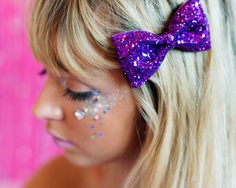 Purple Glitter Hair Bow, Sparkly Glitter Bow, Party Bow, Prom Accessory, Glitter Hair Bow Clip