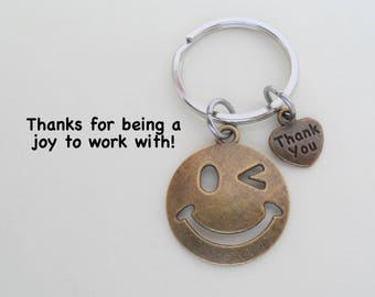 Bronze Smiley Face Keychain, Employee Appreciation Gift,  Volunteer Gift, Employee Gift, Coworker Gift Work Team Thank You Gift Teacher Gift