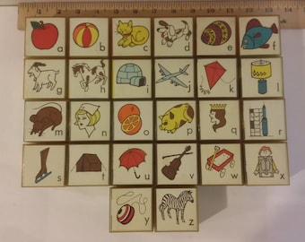 Vintage Toy Alphabet Blocks Plastic, 1970's