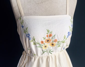 Women's summer dress made from certified natural organic cotton and old vintage embroidered linen -- beautiful wildflowers, inside pockets.