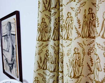"Toile Window curtains SAMPLE SALE  gold cotton window curtain window treatment drapes - ONE panel 44""w x 96"" Block Printed by natural dyes"
