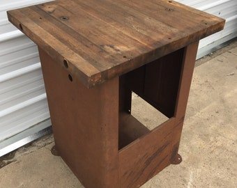 Vintage Industrial Workbench, Steel Machine Base, Butcher Block Wood Top Table, Primitive Kitchen Island, Rustic Home Decor