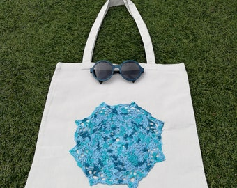 Cotton tote bag with applique crochet handmade
