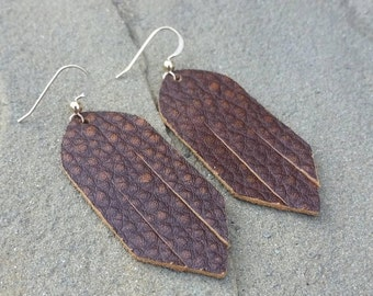 Rusty Brown, Leather Earrings, Fringe Leather, Brown Earrings, Distressed Leather, Western Earrings, Boho Earrings, Boho Jewelry