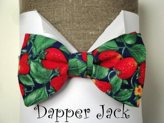 """Strawberry Print Bow Tie, with adjustable band to fit up to 20"""" neck size (50cms). Also available in a self tie."""